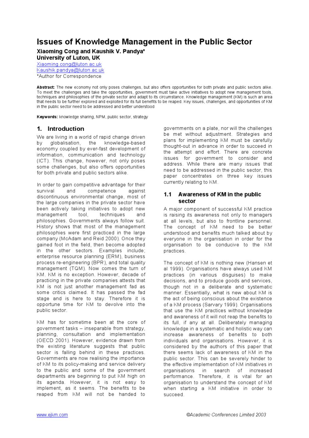 knowledge management issues and challenges