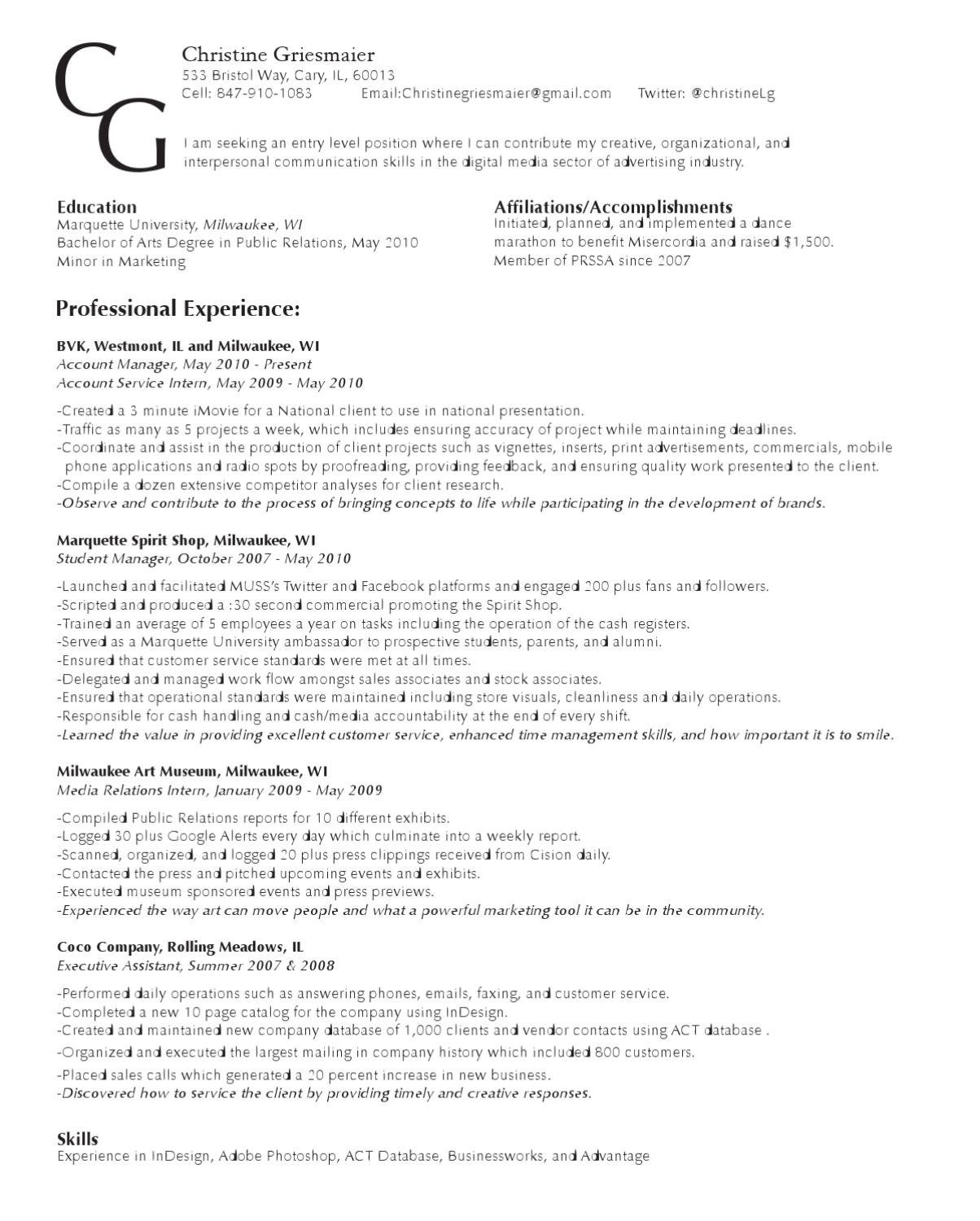 Professional Affiliations On Resumes: Resume By Christine Griesmaier