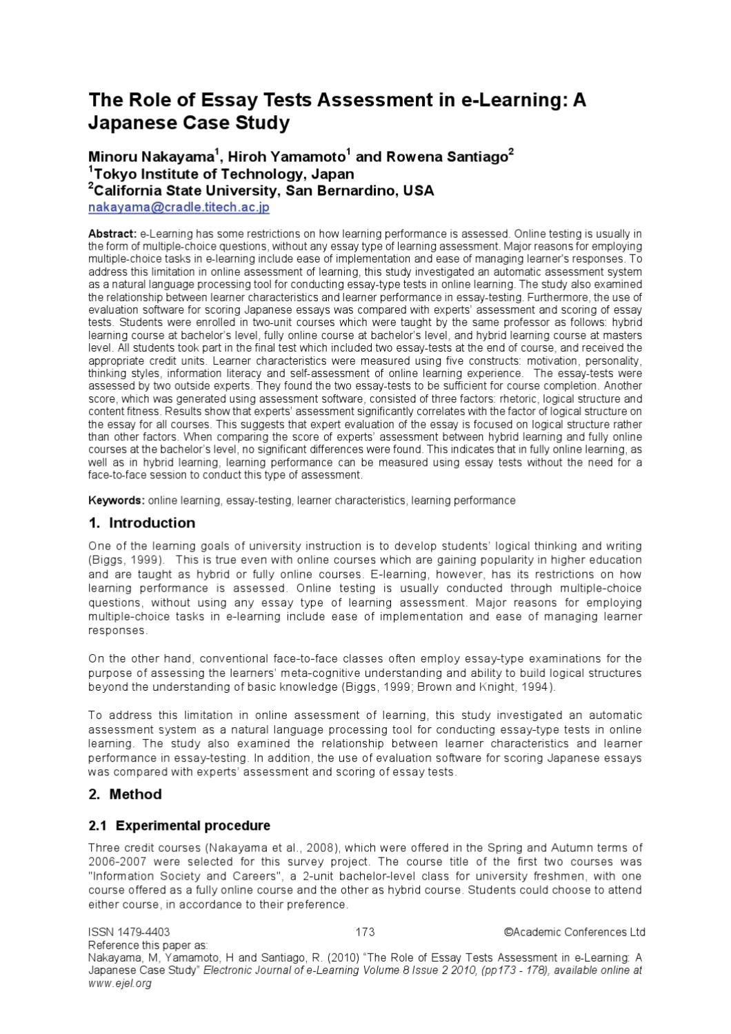 The Role Of Essay Tests Assessment In Elearning A Japanese Case  The Role Of Essay Tests Assessment In Elearning A Japanese Case Study By  Academic Conferences And Publishing International  Issuu
