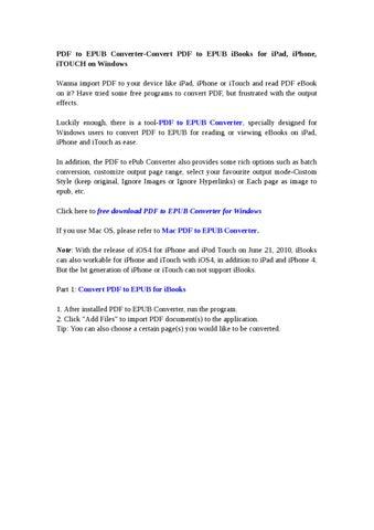 PDF to EPUB for Windows-Convert PDF to EPUB iBooks for iPad