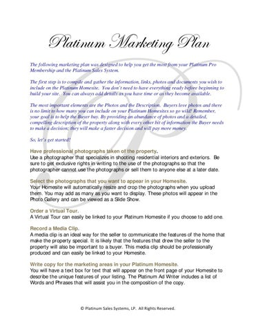 Platinum Marketing Plan for Real Estate Agents by Curt Warner - issuu