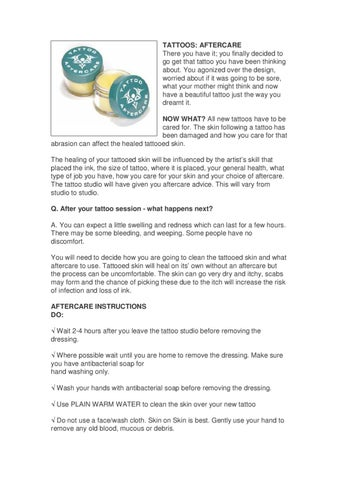 Tattoo Aftercare Instructions How To Care For A New Tattoo By The
