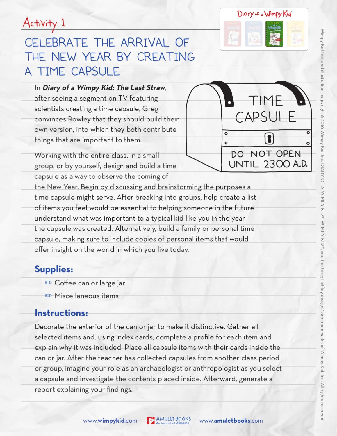 Diary Of A Wimpy Kid Throughout The Year Activities For The Classroom By Abrams Issuu