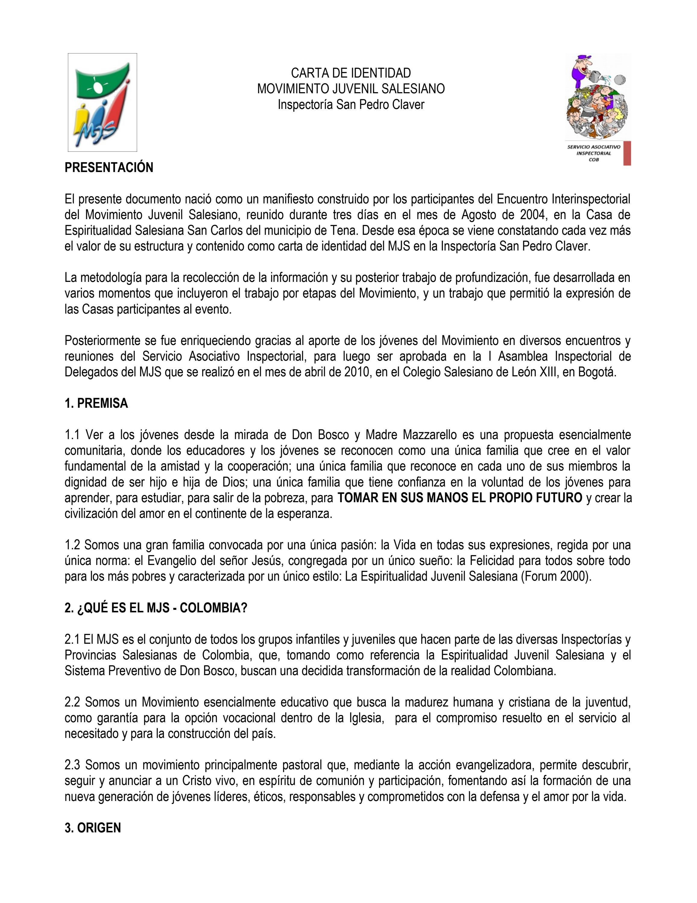 CARTA DE IDENTIDAD MOVIMIENTO JUVENIL SALESIANO COB by Sociedad ...