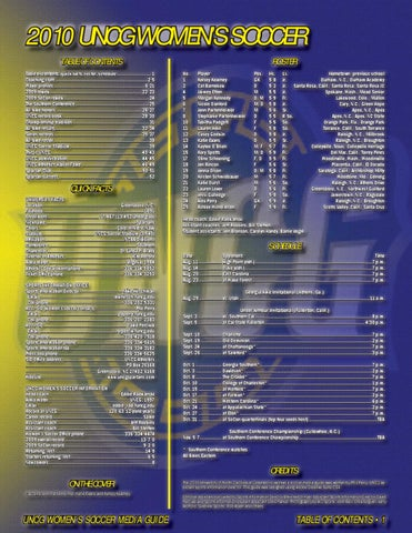 2010 UNCG WOMENS SOCCER TABLE OF CONTENTS Table Of Contents Quick I K Ffacts T Roster Schedule H D L