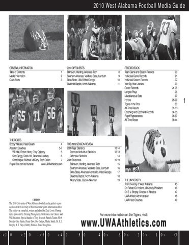2010 Uwa Football Media Guide By The University Of West
