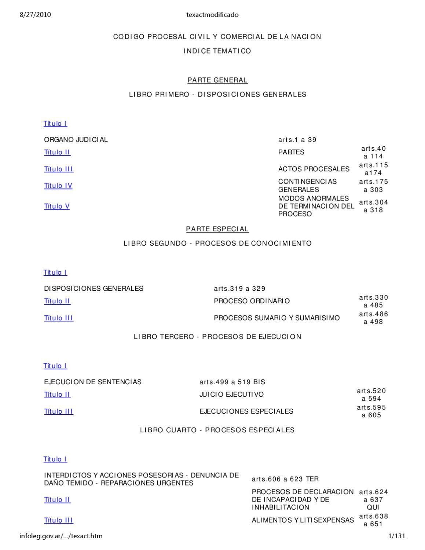 Codigo procesal civil y comercial de la naci n argentina for Libro cuarto del codigo civil