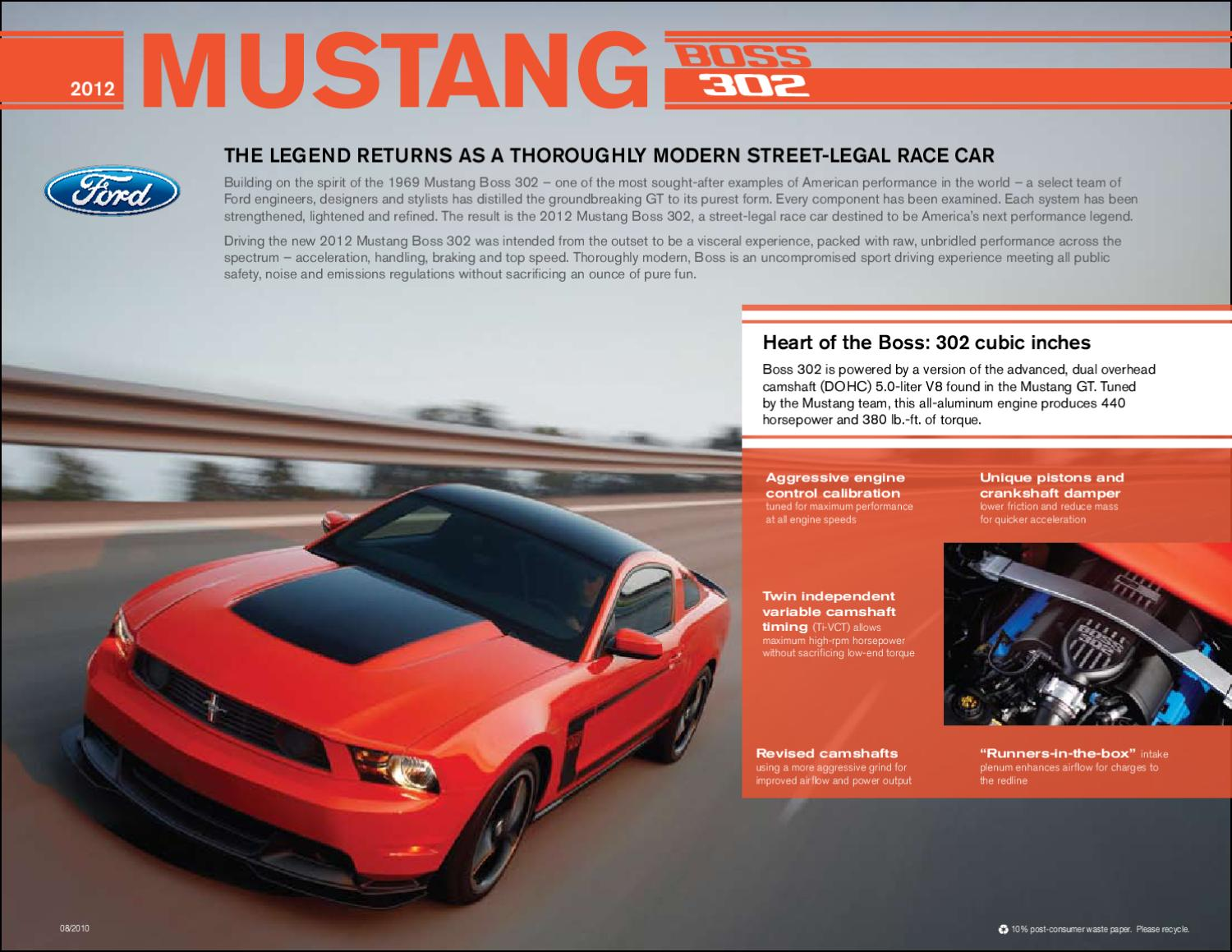 2012 Ford Mustang Boss 302 brochure USA by Ted Sluymer - issuu