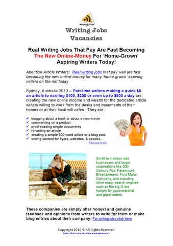 real writing jobs that pay by byrt mallanyk issuu writing jobs vacancies real writing jobs that pay are fast becoming the new online money for home grown aspiring writers today attention article writers
