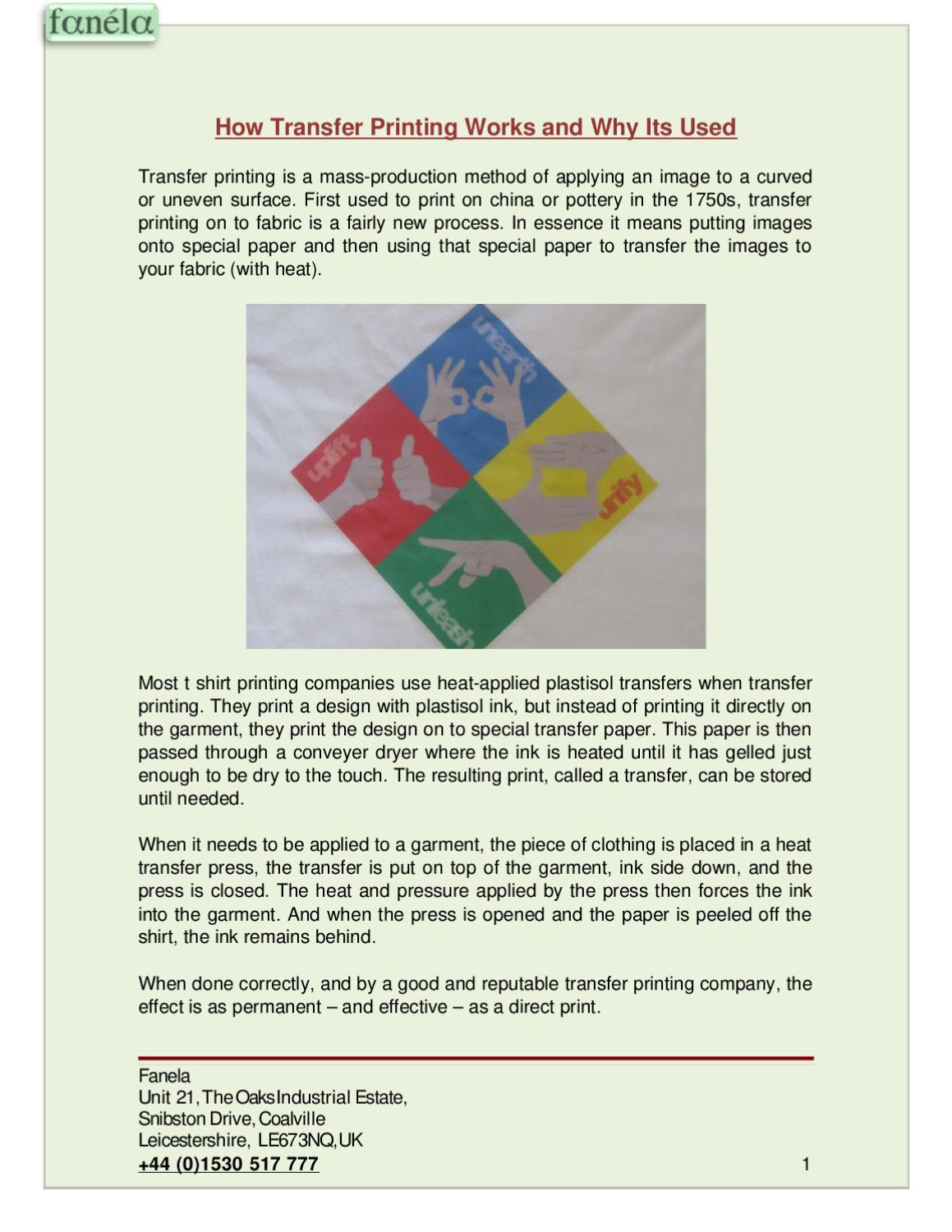 How Transfer Printing Works and Why Its Used by Michael