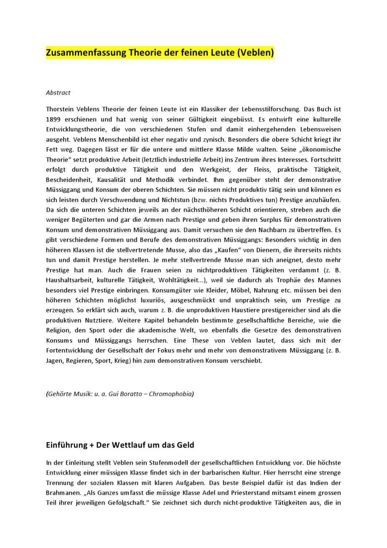 Zusammenfassung Theorie Der Feinen Leute By Christoph Lutz Issuu