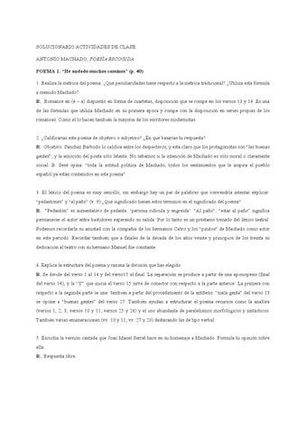 Solucionario De Poemas De Antonio Machado By Sergio Román