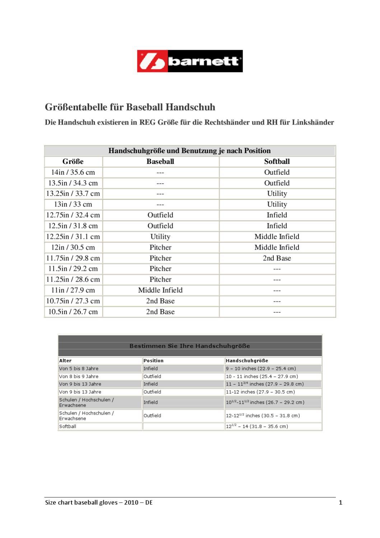 Size chart baseball gloves DE by barnett - issuu