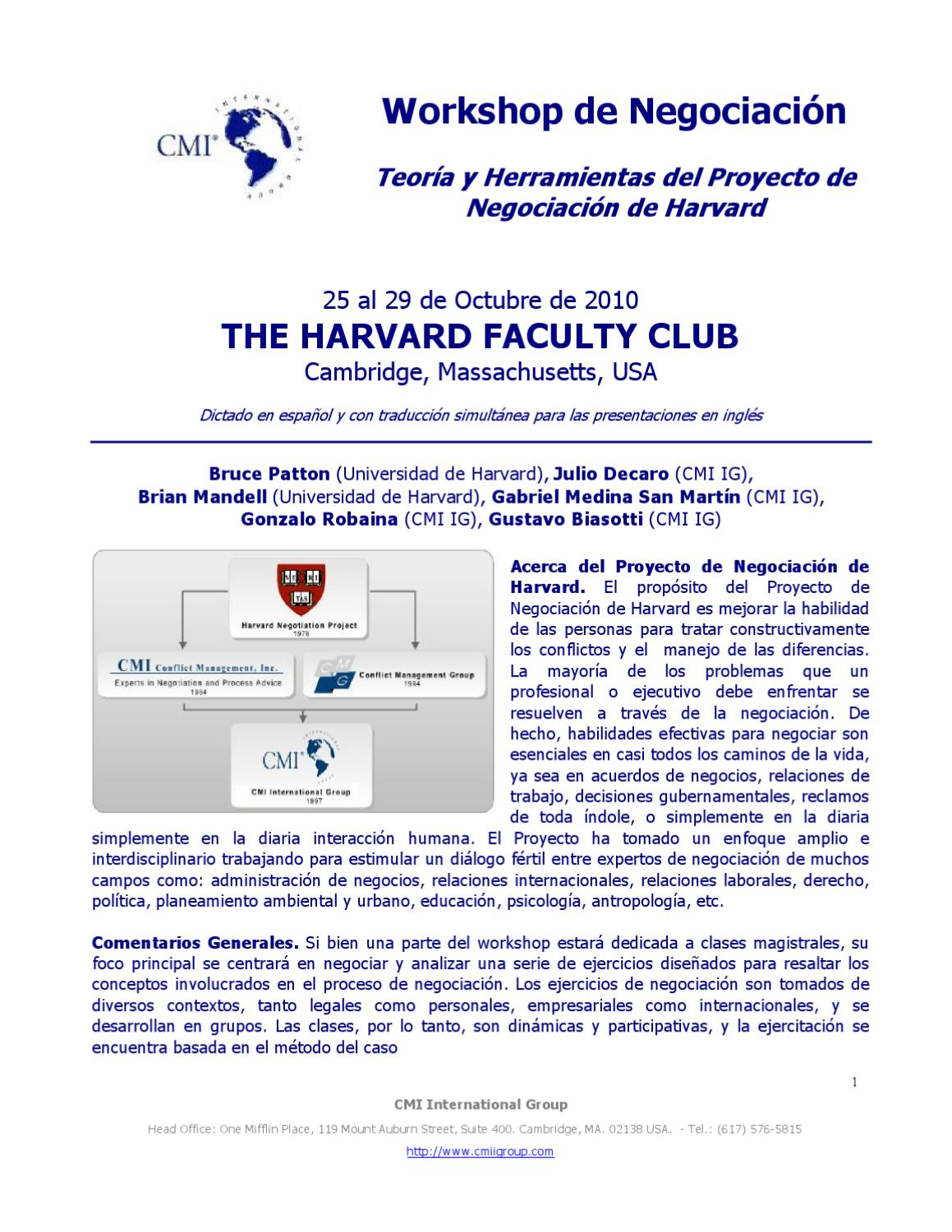 Workshop de Negociación en Harvard by Álvaro Sabini - issuu