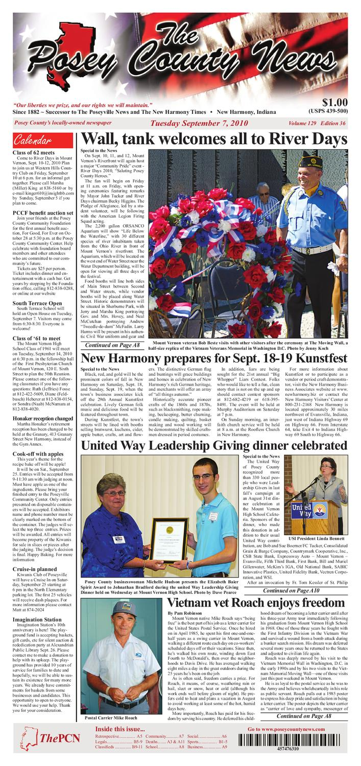 september 7th 2010 the posey county news by the posey county news