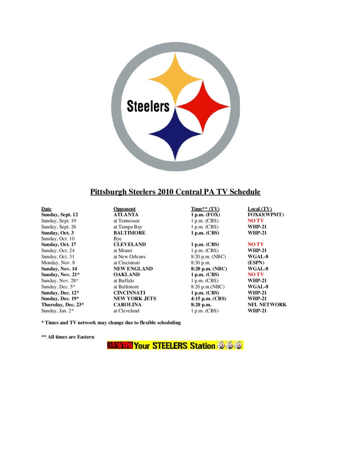 Pittsburgh Steelers 2010 Central PA TV Schedule by Joe