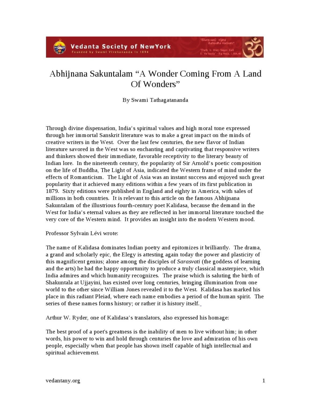 shakuntala summary and analysis