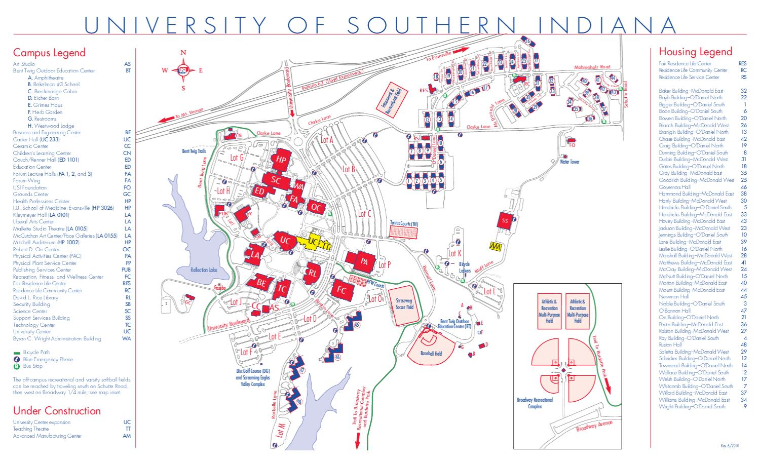university of evansville campus map Campus Map By University Of Southern Indiana Issuu university of evansville campus map