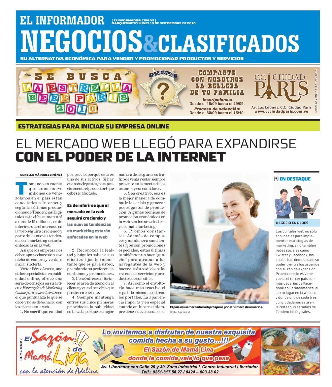 Negocios Y Clasificados 2010 09 13 By El Informador Diario  # Muebles Paquita Santa Cruz De La Zarza