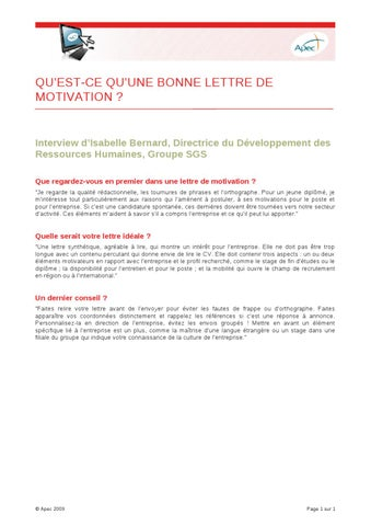 Qu Est Ce Qu Une Bonne Lettre De Motivation By Apec Issuu