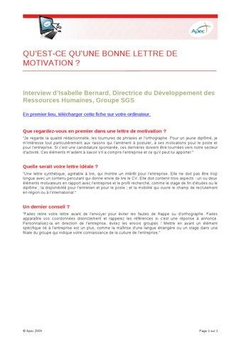 qu est qu une lettre de motivation QU'EST CE QU'UNE BONNE LETTRE DE MOTIVATION ? by APEC   issuu qu est qu une lettre de motivation