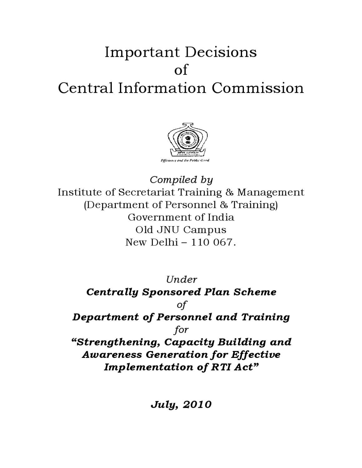 Important DecisionsofCentral Information Commission by
