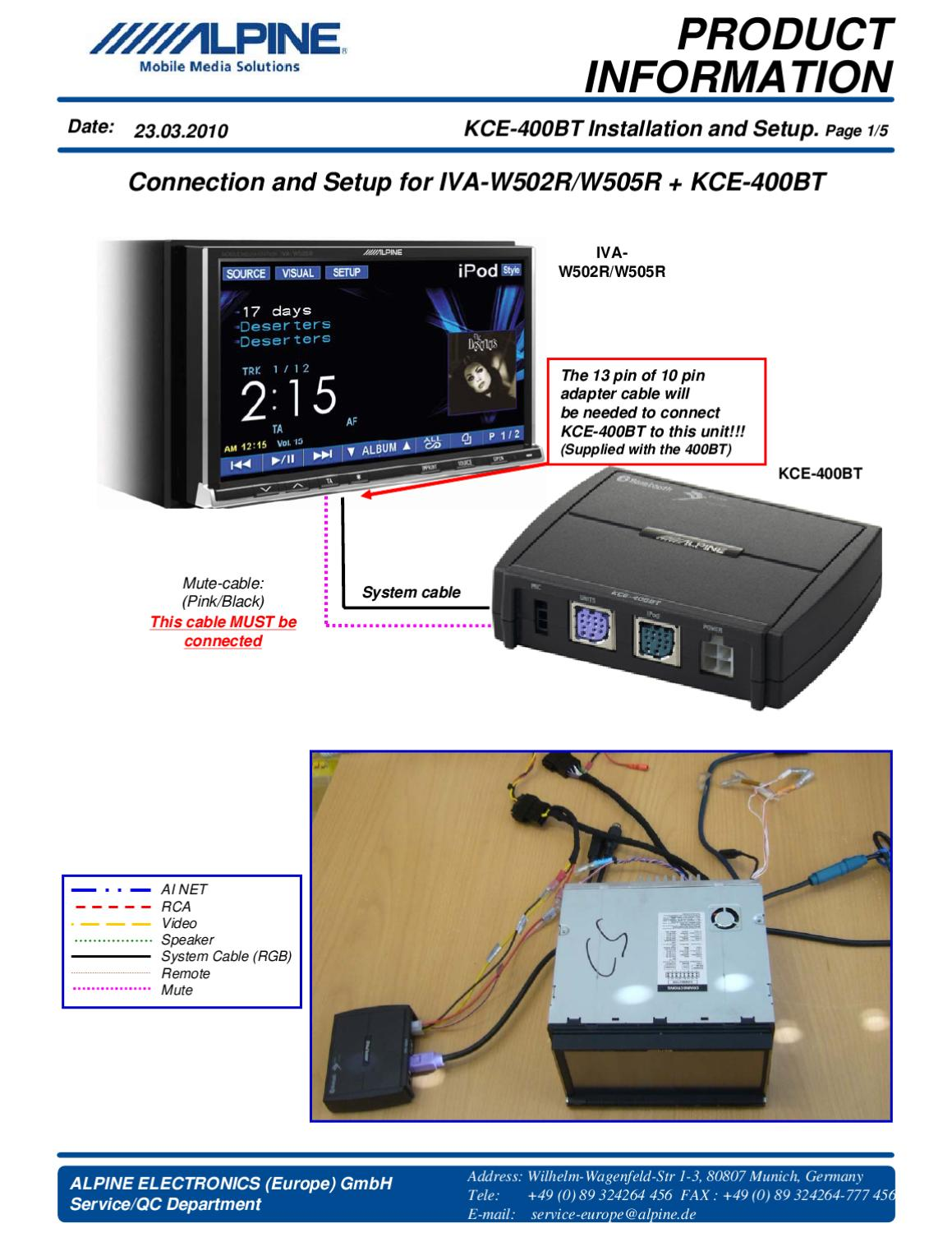 Product Information For Iva-w502   Kce-400bt By Alpine Electronics Of Uk Ltd