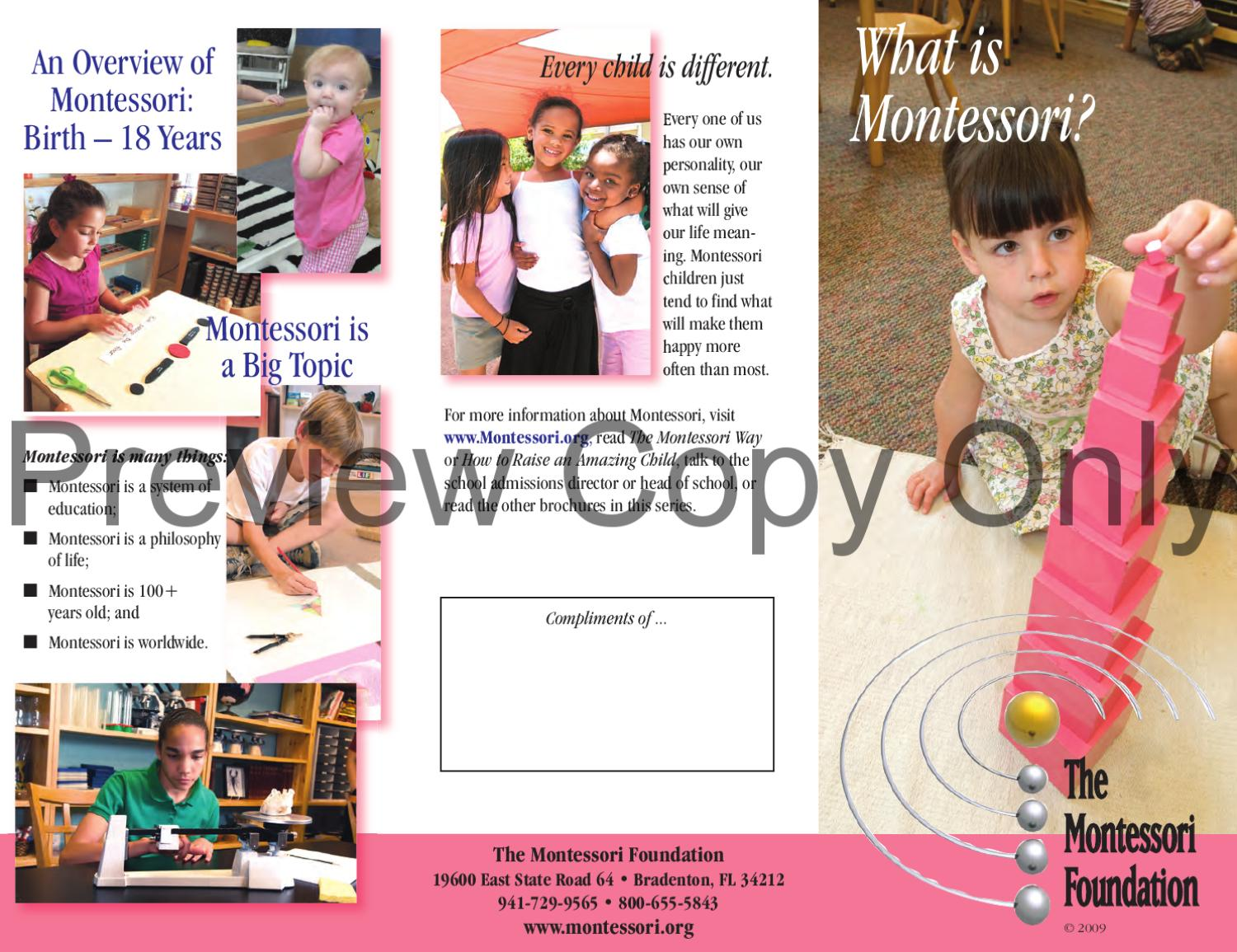 sample pamphlet introduction to montessori by the montessori