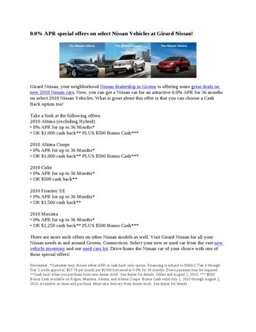 0.0% APR Special Offers On Select Nissan Vehicles At Girard Nissan!