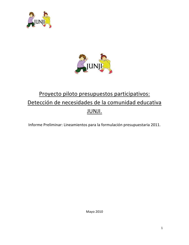 DETECCIÓN DE NECESIDADES DE LA COMUNIDAD EDUCATIVA JUNJI by Junta ...