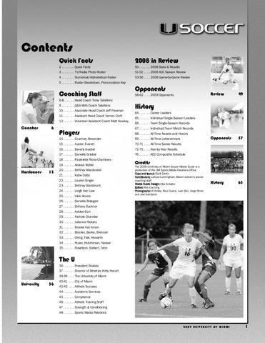 9a2a690ffcf54 University of Miami 2009 Women s Soccer Media guide by Miami ...