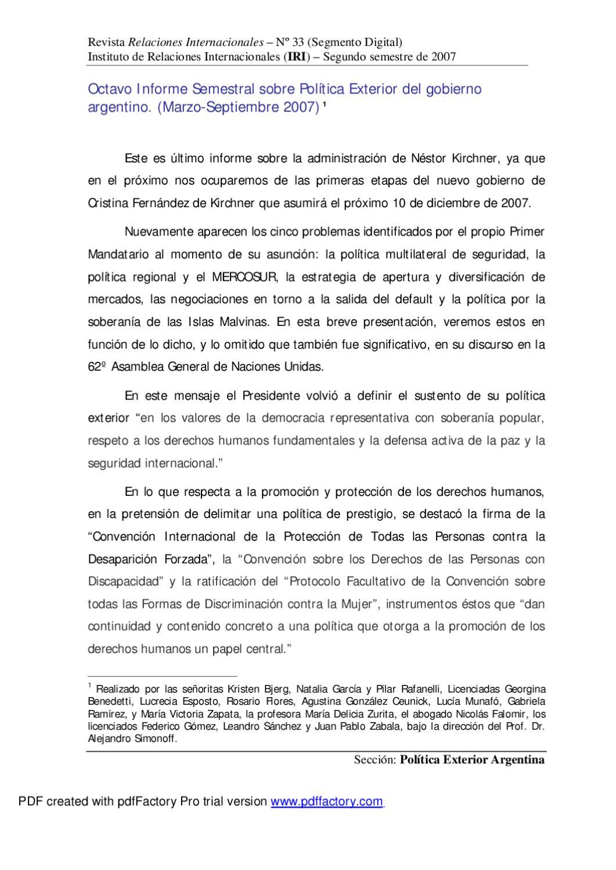 Informe Semestral (marzo - septiembre 07) by Centro de Reflexión en ...