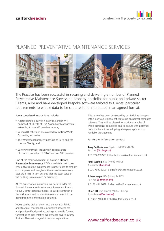 Planned Preventative Maintenance Services - Factsheet by
