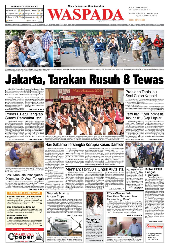 Waspada Kamis 30 September 2010 By Harian Issuu Produk Ukm Bumn Madu Super Az Zikra
