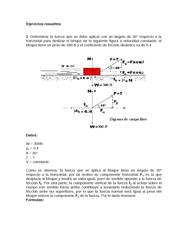 Ejercicios de fricción resueltos y por resolver by Ernesto Yañez - issuu