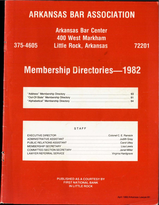 APRIL 1982 By Arkansas Bar Association