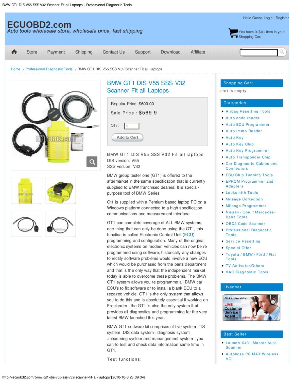 BMW GT1 DIS V55 SSS V32 Scanner Fit all Laptops _ Professional