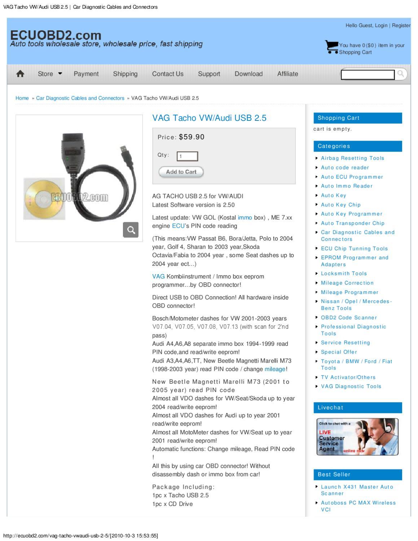 VAG Tacho VW_Audi USB 2 5 _ Car Diagnostic Cables and Connectors by