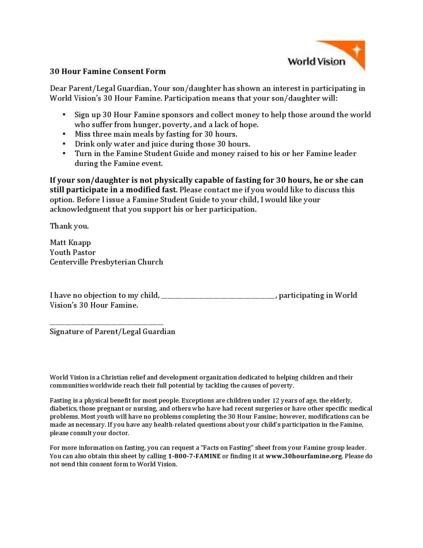 30 Hour Famine Consent Form by Matt Knapp - issuu