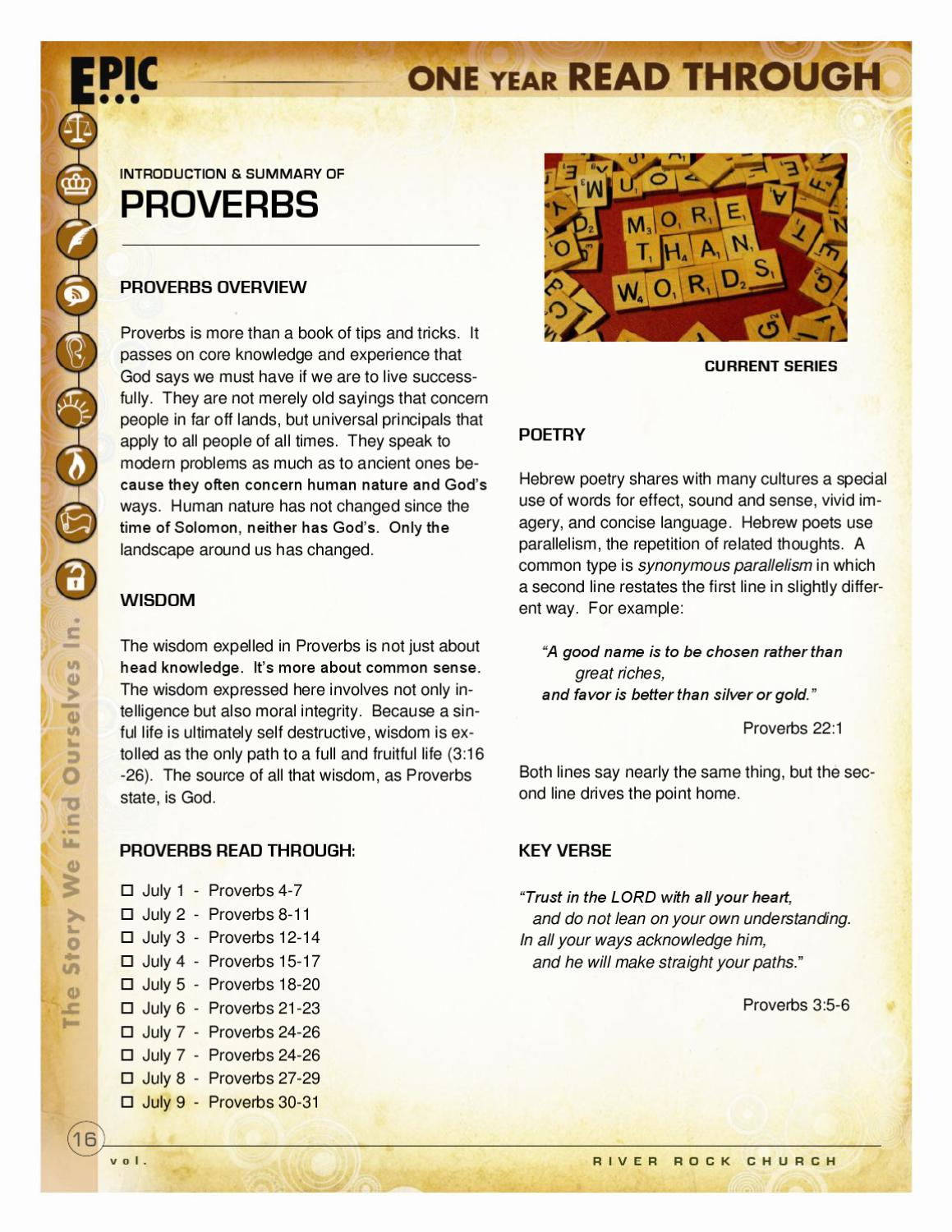 PROVERBS DEEPER SHEET by River Rock Church - issuu