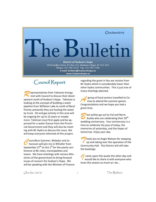 Hudson's Hope Bulletin by Adam Reaburn - issuu
