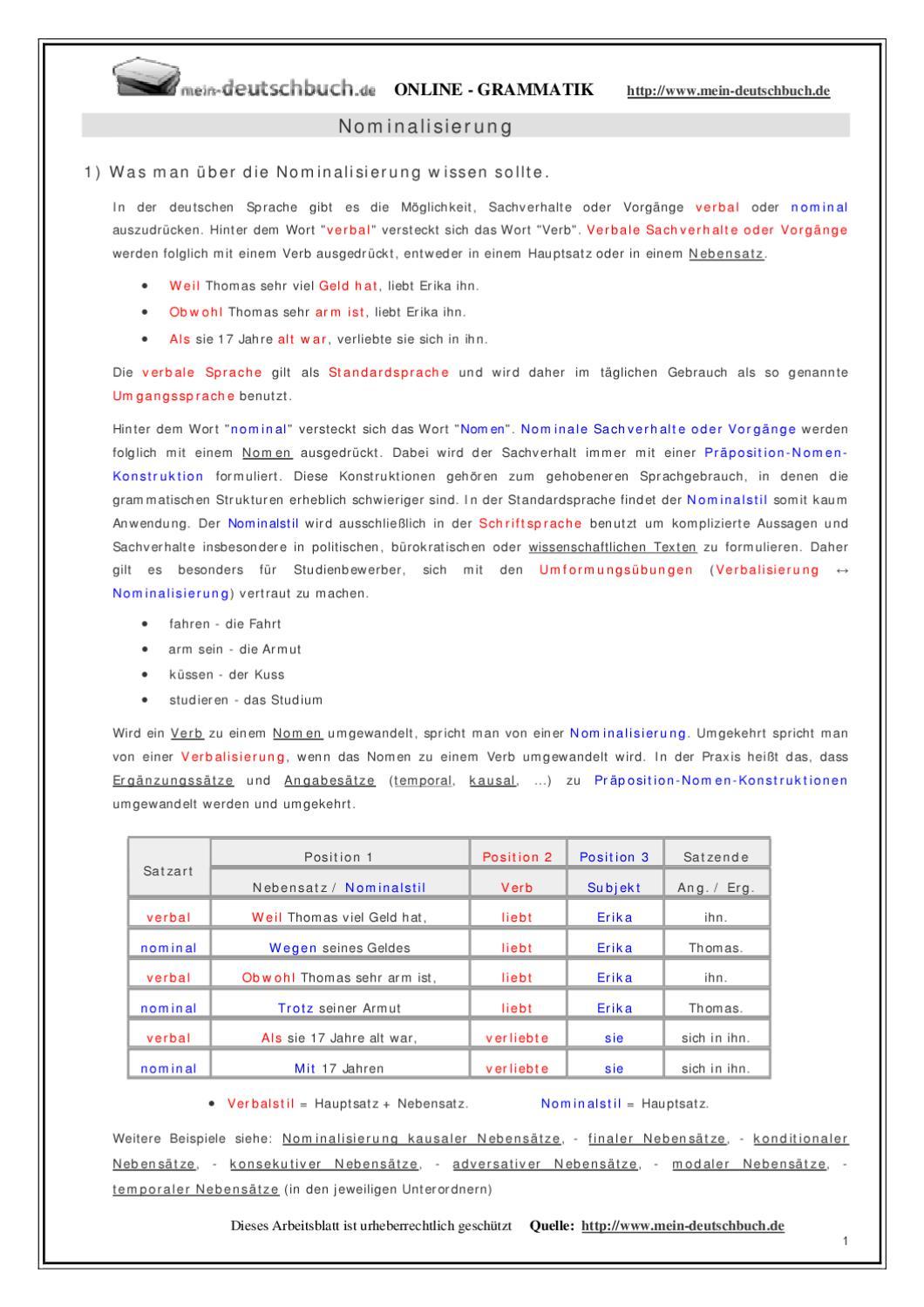 nominalisierung by rissouli mouhcine issuu - Nominalisierung Beispiele