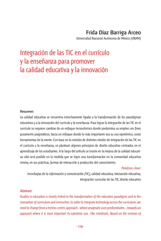 Integración de las TIC en el currículo y la enseñanza para promover ...