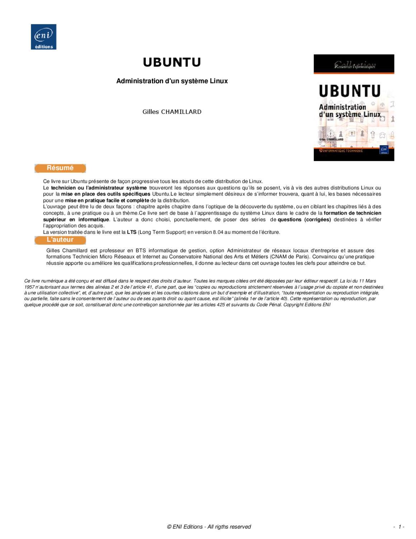 ubuntu administration d  u0026 39 un systeme linux by abdel sidi