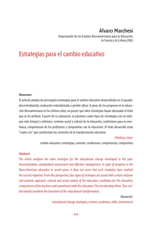 Estrategias para el cambio educativo by Pensamiento Iberoamericano ...