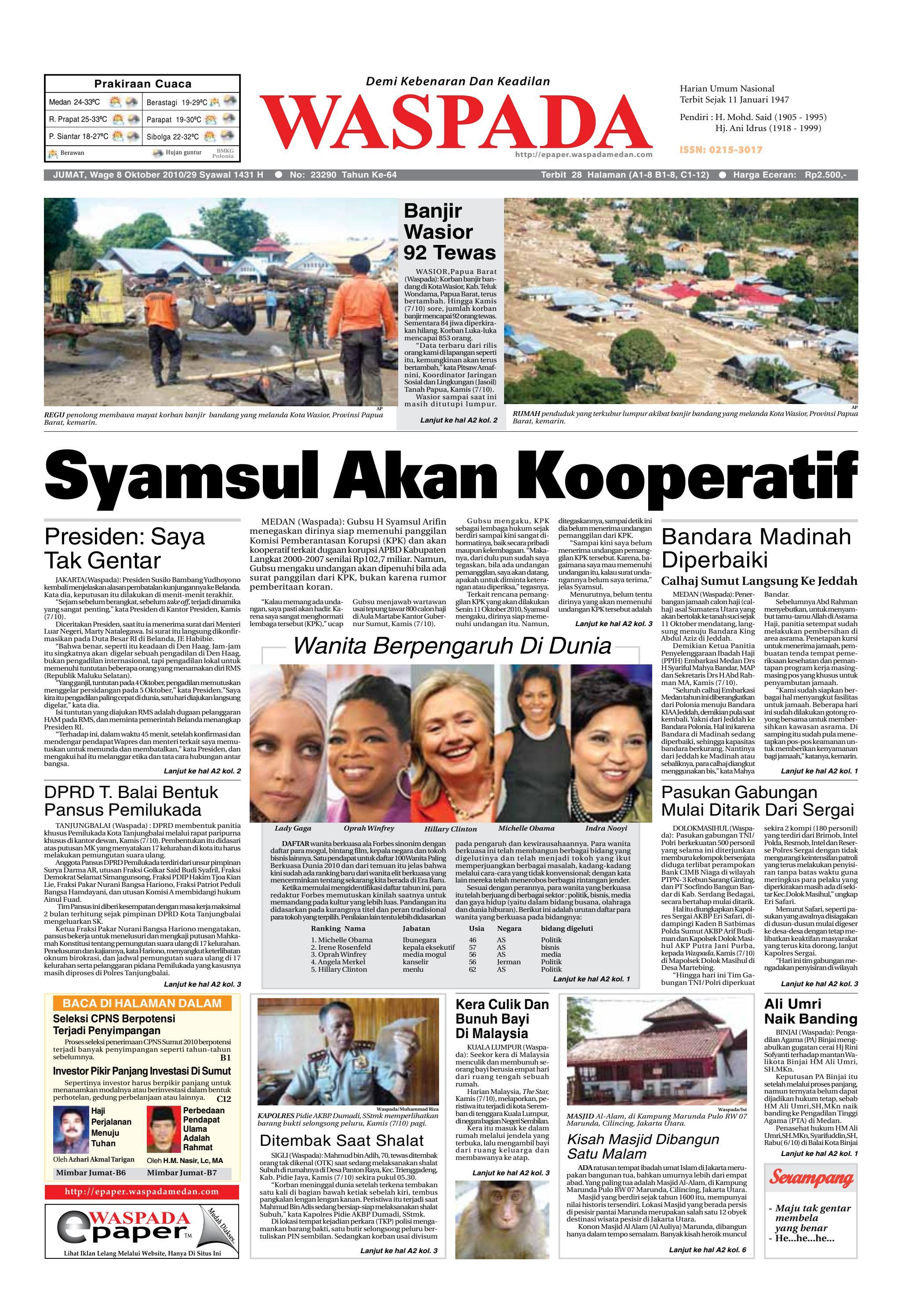 Waspada Jumat 8 Oktober 2010 By Harian Issuu Mesin Untuk Membungkus Makanan Hand Wrapping Sat Hw450starpack