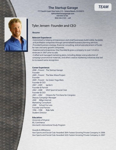 Tyler Jensen Resume By The Startup Garage Issuu