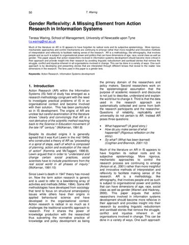 Gender Reflexivity: A Missing Element from Action Research in Information  Systems