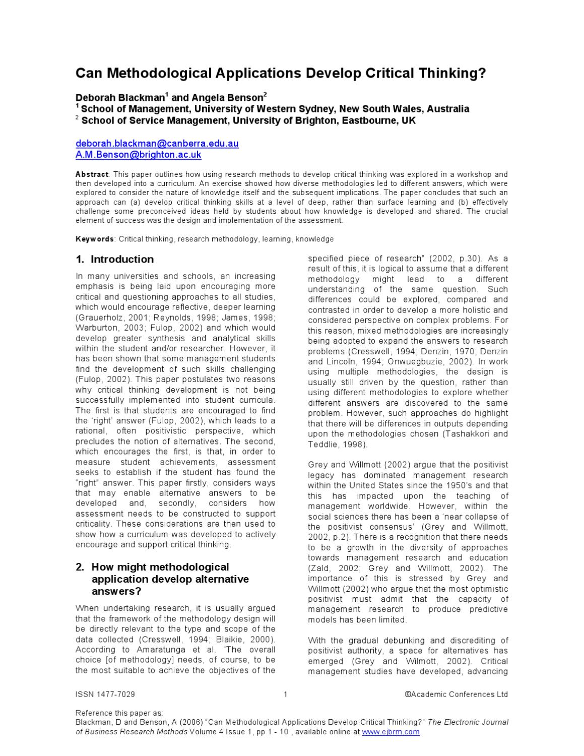 Can Methodological Applications Develop Critical Thinking By Academic Conferences And Publishing International Issuu