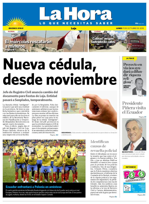 Diario La Hora Loja 11 De Octubre De 2010 By Diario La Hora  # Muebles Paquita Santa Cruz De La Zarza